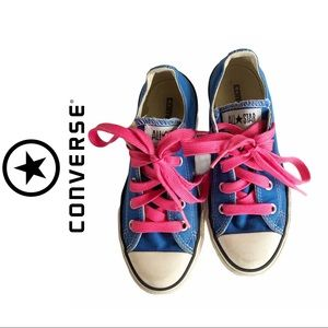 Converse All Star Blue Sneakers Pink Laces, 13